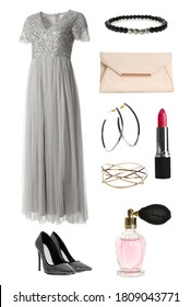 Elegant outfit. Collage with dress, shoes, accessories and cosmetics for woman on white background