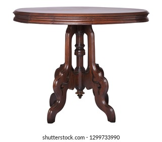 Elegant oval antique Victorian side table made of walnut isolated on white