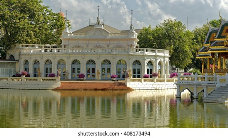 Elegant pavilion on the grounds of the royal Bang Pa-In summer palace near Ayutthaya, Thailand