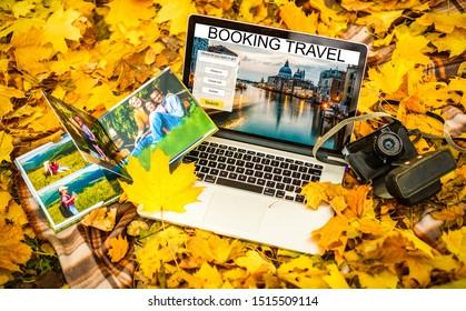 elegant photobook and laptop, autumn photo album