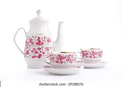 Elegant porcelain tea set isolated over white
