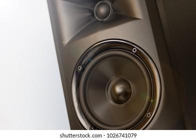 Elegant powerfull studio monitor – Black speaker closeup