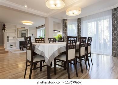 Elegant prepared table in stylish dining room