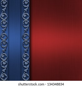 elegant red background with rich blue ribbon