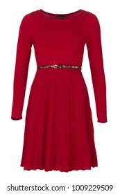 Elegant red basic fashion dress with long sleeves and thin belt, photographed on ghost mannequin with white background. Front view.