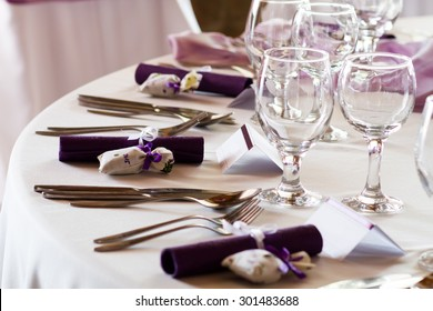 elegant restaurant table set for event, wedding place