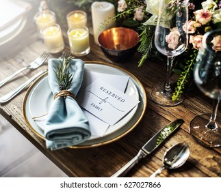Elegant Restaurant Table Setting Service for Reception with Reserved Card & Dining Table Setting Images Stock Photos u0026 Vectors | Shutterstock