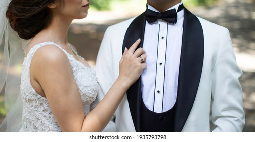 elegant and romantic pose of the groom and the bride