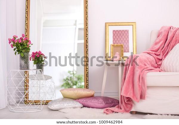 Elegant room interior with large mirror
