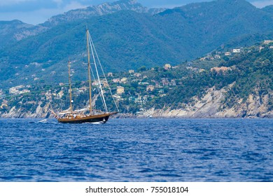 elegant sailing ship that passes through the Ligurian sea in front of Cinque Terre, Italy