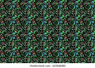 Elegant seamless pattern with doodles and Mandala elements. Nice hand-drawn seamless raster illustration.