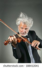 Elegant senior violinist with shining and quirky white hair . Music and concerto concept