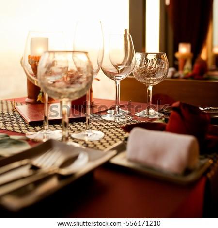 The Elegant Set Up Dinner Table.