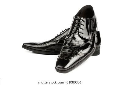 Elegant shiny black dress shoes
