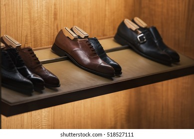 Elegant shoes in a man clothing store