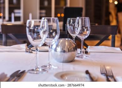 Elegant and simple restaurant table