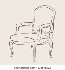 Elegant sketched armchair. Harmonic colors. Design template for label, banner, badge or logo.