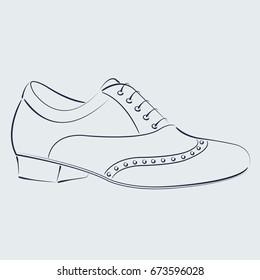 Elegant Sketched Mans Shoe Argentine Tango Stock Photo (Photo ...