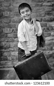 elegant small boy with suitcase