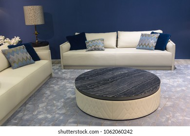 Elegant sofas and table in the living room. Interior