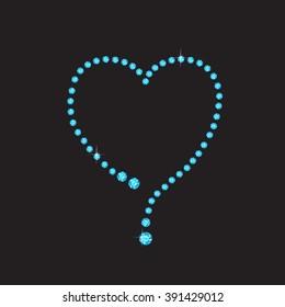 Elegant sparkling heart made from aquamarine, isolated on black background. High-resolution raster JPEG version.