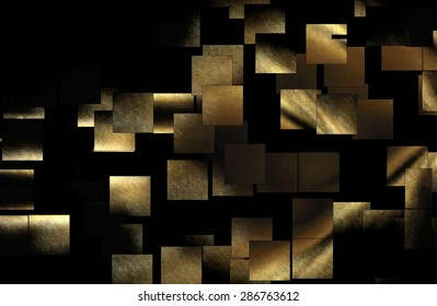 elegant squares, abstract, square representation in space, floating squares, square yellow and gold, black background, virtual space, expansion of squares in a vacuum,