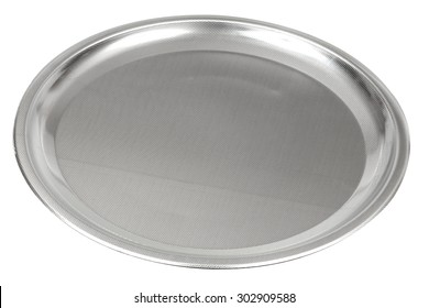 Elegant stainless steel (Inox) serving tray isolated on white with clipping path. With nice textured finishing.