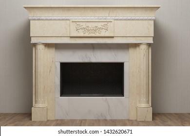 Elegant stone fireplace in light home interior