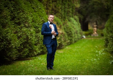 elegant stylish groom  on the background of trees in the park