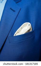 elegant stylish jacket and handkerchief in the pocket