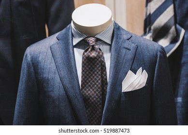 Elegant suits in a store