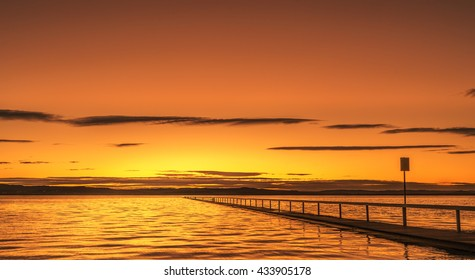 Elegant sunset time at Long Jetty, which was extended to the Tuggerah Lake in Central Coast of NSW.