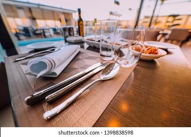 Elegant Table Dinner Setting Sky View