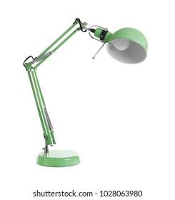 Elegant table lamp on white background