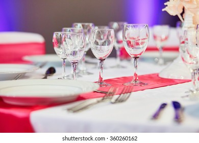 Elegant table set for an event party or wedding reception