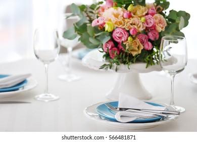 Elegant table setting with beautiful flowers closeup & Elegant Table Settings Images Stock Photos \u0026 Vectors | Shutterstock
