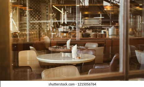 Elegant table setting prepare for special dinner in restaurant with retro vintage decoration style