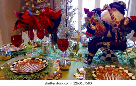 Elegant table setting with Santa decoration
