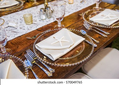 Elegant Table Setting with Starfish