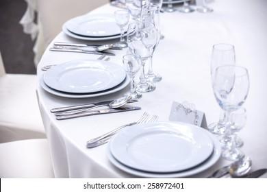 Elegant tables set up for a wedding banquet