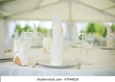 Elegant tables  set up for a wedding banquet
