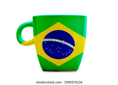 Elegant tea or cafe flagged mug isolated. Brazil flag