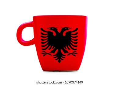 Elegant tea or cafe flagged mug isolated. Albania flag