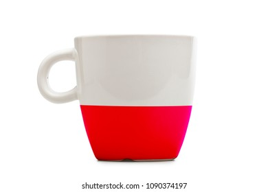 Elegant tea or cafe flagged mug isolated. Poland flag