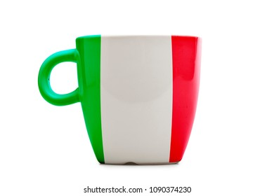 Elegant tea or cafe flagged mug isolated. Italia flag