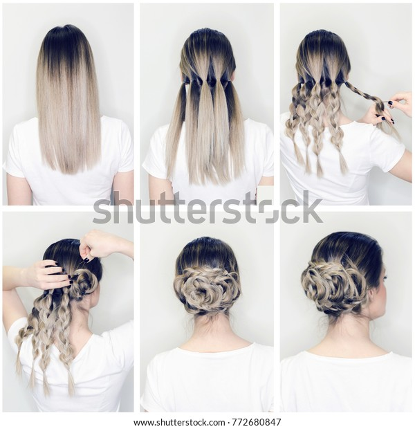 Elegant Updo Much Braids Hairstyle Tutorial Stock Photo