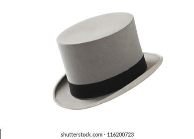 48e13eb1587 Elegant vintage gray wool felt top hat with black hat band. Grosgrain ribbon  trim around