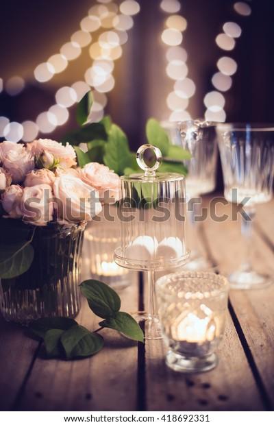 Elegant Vintage Wedding Table Decoration Roses Stock Photo (Edit ...