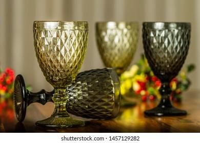 Elegant Vintage Wine Goblets Glasses