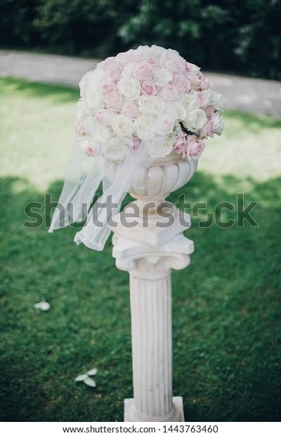 Elegant Wedding Bouquet On Column Stylish Holidays Objects